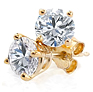 14K Yellow Gold Round Diamond 4-Prong Stud Earrings